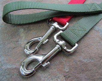 Handmade dog /pet leash - Made from heavy duty nylon webbing - Available in 16 colors - The Mad Stampers pet leash - Made in USA