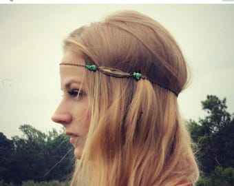VACATION SALE feather head chain, chain headband, feather headband, metal headband, unique headband