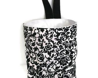 Black Scroll Damask Waterproof Car Trash Bag, Litter Bag, Car Accessory, Storage Bag, Car Litter Bag, CarCaddy, Waterproof Bag,Organizer Bag