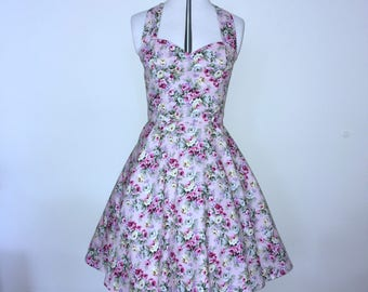 Pink floral Rockabilly dress- Pin up, 50's style