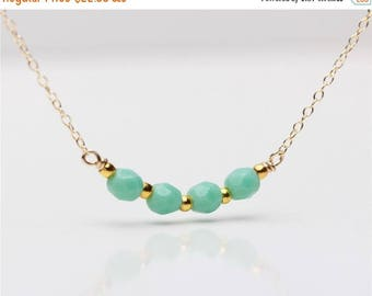 ON SALE Delicate everyday fresh mint faceted Czech beaded Gold necklace available in gold or silver