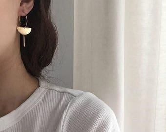 ON SALE Delicate hoop earrings - half moon bar dangle earrings - everyday simple minimal earrings