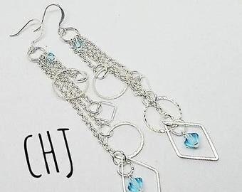 Long silver earrings, silver geometric earrings, aqua crystal earrings, March birthstone, handmade, ready to ship, free shipping, for her