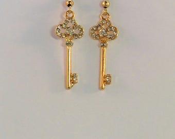 Small gold and rhinestone key charm earrings, gold key jewelry, chic rhinestone earrings, key and lock charm jewelry