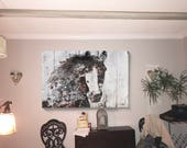 "Wild Gorgeous Horse 45 x 60 x 1.5"", Mixed media on Canvas: Digital, Acrylic. One of a kind"