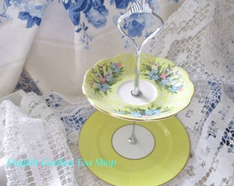 Custom 2 tier mini cake stand, appetizer stand, tea party favor, perfect whimsical piece for your tea party, excellent condition