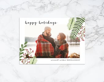 Printable Watercolor Elements Rustic Holiday/Christmas Photo Card
