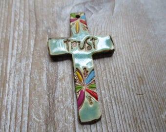 TRUST Jesus  Christian Cross Rustic Earthy Funky  Jesus