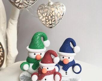 Snowman Christmas Cake Topper, Polymer Clay Christmas Decoration, Winter Cake Topper, Christmas Ornament, Cake Centrepiece