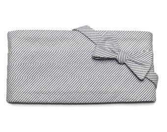 Gray Seersucker Stripe Cummerbund & Bow Tie~Mens Cummerbund Set~Mens Formal Wear~Groomsmen~Groom~Self Tie Bow Tie~Men Gift~Wedding