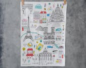 Paris Tea Towel - Paris map print - Paris fabric - Paris themed gift - Eiffel Tower themed gift - Cityscape art - France themed gift