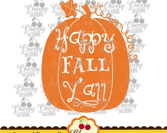 Happy FALL Y'all SVG DXF,Thanksgiving pumpkin Silhouette and Cricut Cut Files DGTH19 -Personal and Commercial Use