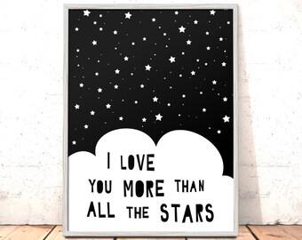 More Than All The Stars Print Poster Art for Boys Girls Room Kids Room | Scandi Nursery Art | Modern Nursery Print Modern Art Kids Room