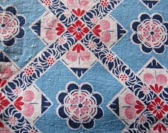 vintage FULL feed sack fabric -- blue and pink geometric floral print