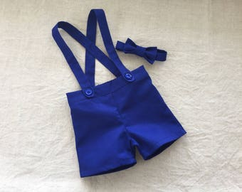 ring bearer outfit royal blue baby boy suspender shorts and bow tie