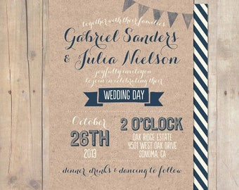 SUMMER SALE Whimsical Rustic Kraft Paper Wedding Invitation Printable OR Professionally Printed Card