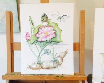 ORIGINAL ART Lotus Plant, Lotus Art, Nelumbo nucifera, Nymphaea Nelumbo, Botanical drawing of all parts. Buddha Symbol, Lotus Pond.
