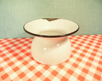 Mid Century White Enamel Spittoon - Black Trim  -  Rustic Planter - Vintage 1960s