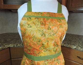 Apron orange and green batik print