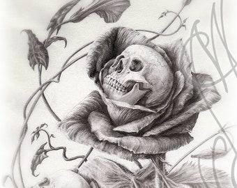 "Martinefa's original drawing - ""SKULLS ROSES"""