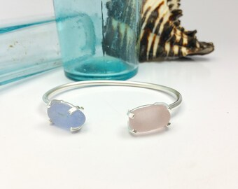 Dual Sea Glass, Prong Set Bracelet. Sterling Silver. Adjustable. Beach Jewelry.