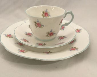 Vintage Three Piece Set, made in England,Rosina,Fine Bone China,Tea Cup and Saucer