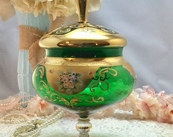 Vintage Victorian Glass Seyei Compote,Candy Dish,Emerald Green,Hand Painted,Bohemian Style