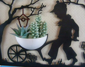 Sweet 1940's Silhouette Wall hanging and Planter. Boy with Wheelbarrow and Birdhouse.