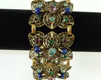 Vintage Large Art Nouveau Metal Link Bracelet Brass Leaves Blue Art Glass Colored Rhinestones Costume Jewelry from TreasuresOfGrace