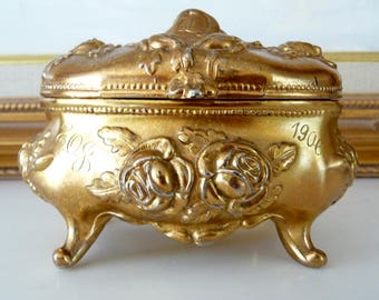 Antique 1906 Art Nouveau Gold Jewelry Casket Jewelry Trinket Box Roses Rogers Silver Plate Jewelry box
