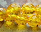 10 mm Czech glass beads - faceted in sunflower yellow