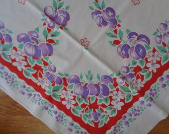 Bright Purple Plum and Red Border Cotton Farmhouse Tablecloth