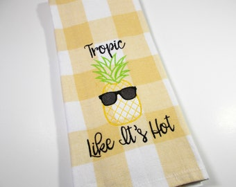 Funny Pineapple Towel - Tropical - Embroidered Towel - Kitchen Towel - Pineapple Kitchen Towel - 10 dollar gift - Funny Fruit Kitchen Towel