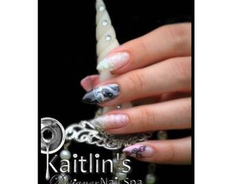 Black Unicorn Stiletto Gel Artificial Nail Art