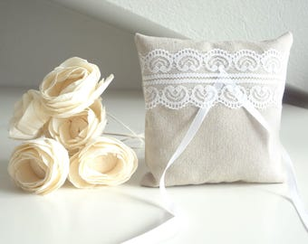Wedding pillow for ring bearer natural linen and lace
