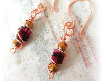 Garnet and Copper Earrings, January Birthstone, Gifts for Her, Birthday Gift