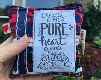 Small cosmetic bag-make up bag-coin purse wallet- credit card wallet-calligraphy scripture-vintage boho chic - patchwork-walk by faith bible