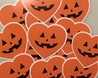 Jack o lantern heart sticker