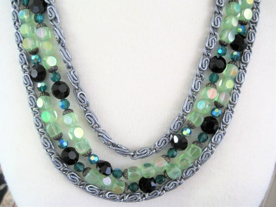 Green 4 Strand Necklace - Faceted Crystals - Two Tone Green -  Silver Tone Metal -  Paper Clip Style Chains