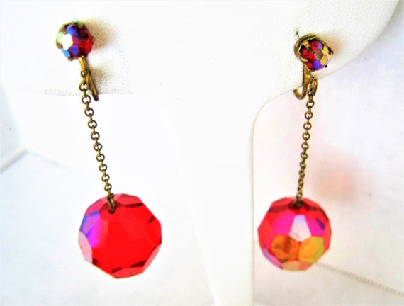 Red Glass Chandelier Earrings - Vintage Disco Ball -  Red Prism Dangle Clip Ons