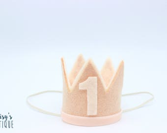 First Birthday Crown Baby Girl/ Peachy Pink and Cream Felt Crown/ Girl Birthday Crown/ Birthday Outfit / Cake Smash/ Salmon Pink