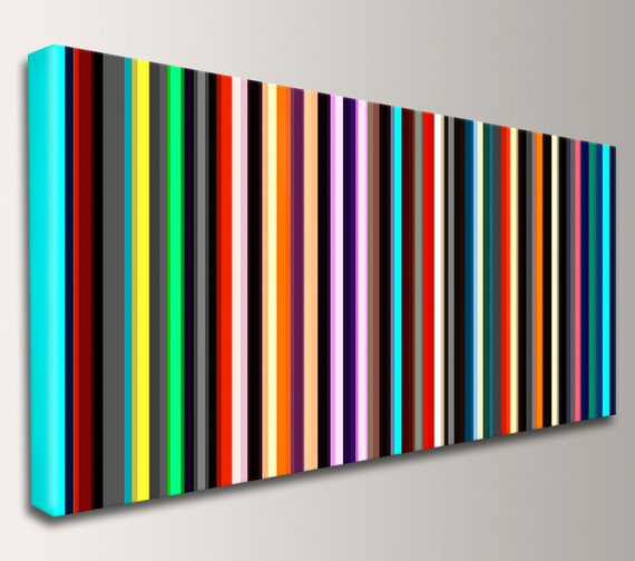 "Stripe Art, Panoramic Art, Canvas Print, Mid Century Modern,Art - Stripes, Line Art, Modern Art, Wall Art, Loft Art, Home Decor - ""Parallel"""