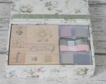 New Anna Griffin Stamp Set With Ink Ribbon In Decorative Box Floral Thank You