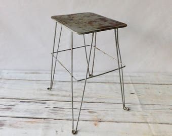 Vintage Short Silver MidCentury Plant Stand Wire Legs Plant Table Retro Plant Stand