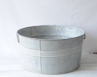 Galvanized Tub Wash Tub #2 Bucket Metal Handle Galvanized Metal #2