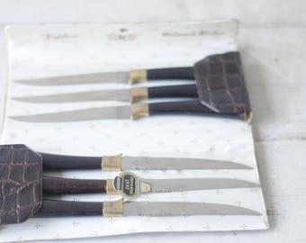 Vintage Englishtown Cutlery Co. Sheffield England Steak Knives 6 Knife Set In Case