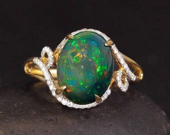 ON SALE Vintage Inspired Australian Opal Ring - Micro-Pave Diamond Setting - Heirloom Ring, 18kt Yellow Gold