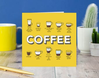 Coffee Cup recipe chart greeting card, coffee birthday card, card for caffeine lover, Coffee cafe menu greeting card, card for coffee lover