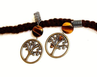 Dreadlock Jewelry - Gun Metal and Tiger Eye Tree of Life Loc Jewel