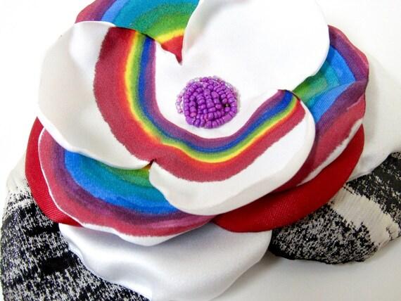 Rainbow Pride Handpainted Flower Hair Accessory Brooch